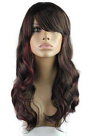 Vogue Highlight Long Fluffy Wavy Heat Resistant Women's Synthetic Wig With Face Side Wig - COLORMIX