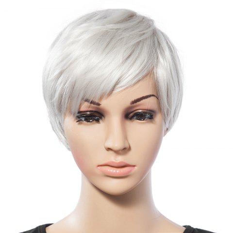 Trendy Fashionable Short White Trendy Side Bang Natural Glitter Straight Synthetic Wig For Women - WHITE  Mobile