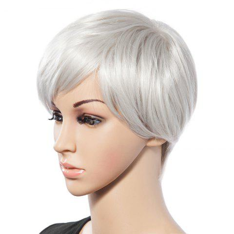 Shops Fashionable Short White Trendy Side Bang Natural Glitter Straight Synthetic Wig For Women - WHITE  Mobile