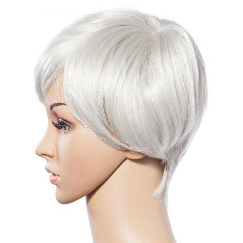 Outfit Fashionable Short White Trendy Side Bang Natural Glitter Straight Synthetic Wig For Women - WHITE  Mobile