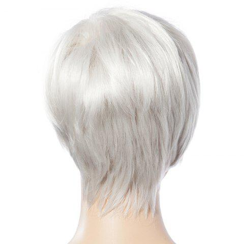 Online Fashionable Short White Trendy Side Bang Natural Glitter Straight Synthetic Wig For Women - WHITE  Mobile