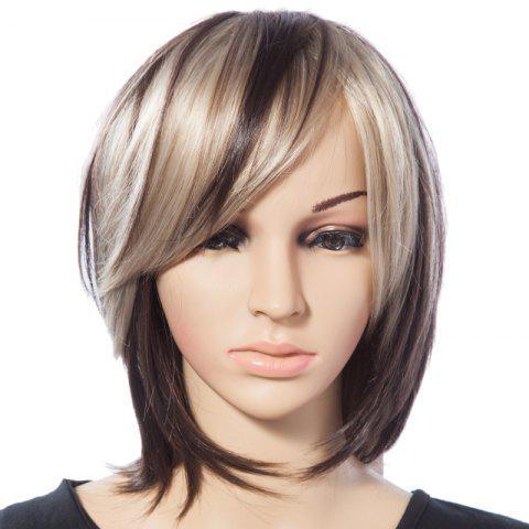 New Fashionable Mixed Color Straight Synthetic Heat Resistant Tilt Women's Short Wig With Side Bang