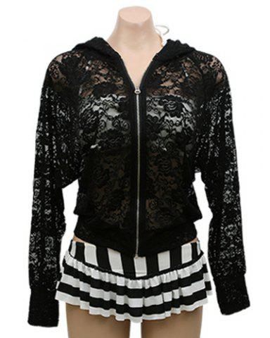 Sale Stylish Long Sleeves See-Through Zippered Hooded Jacket For Women