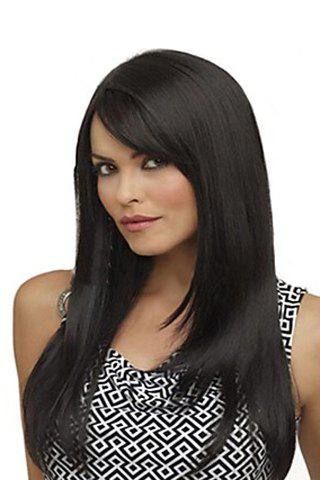 Buy Fashion Side Bang Charming Long Natural Straight Black Heat Resistant Synthetic Capless Wig For Women