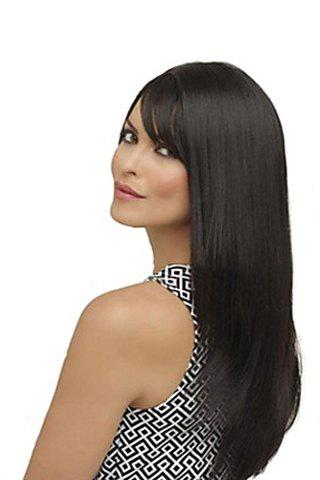 Outfit Fashion Side Bang Charming Long Natural Straight Black Heat Resistant Synthetic Capless Wig For Women - BLACK  Mobile