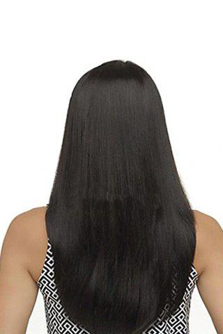 Chic Fashion Side Bang Charming Long Natural Straight Black Heat Resistant Synthetic Capless Wig For Women - BLACK  Mobile