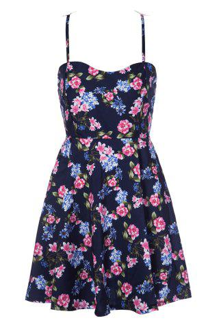 Online Stylish Spaghetti Strap Floral Print Hollow Out Lace Splicing Dress For Women