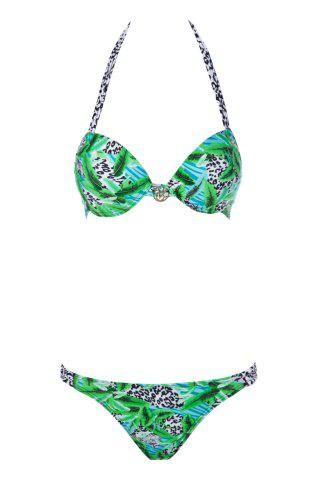 Sale Sexy Halter Leopard Print Push-Up Women's Bikini Set GREEN S