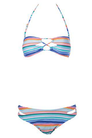 Fashion Sexy Strapless Striped Women's Bikini Set STRIPE L