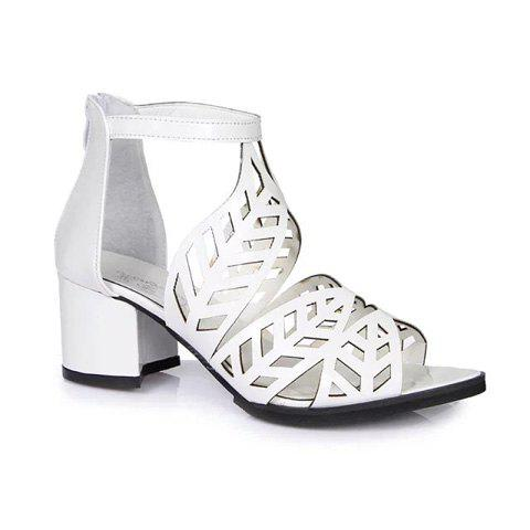 Shops Stylish Zip and Hollow Out Design Women's Sandals WHITE 38
