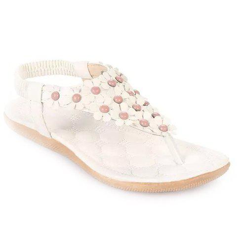Graceful Elastic and Flowers Design Women's Sandals - White - 39