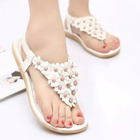 Best Graceful Elastic and Flowers Design Women's Sandals - 39 WHITE Mobile