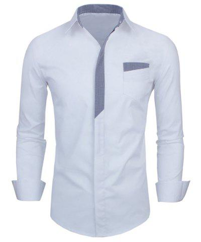 Personality Color Block Fly Slimming Turn-down Collar Long Sleeves Men's Shirt - WHITE M