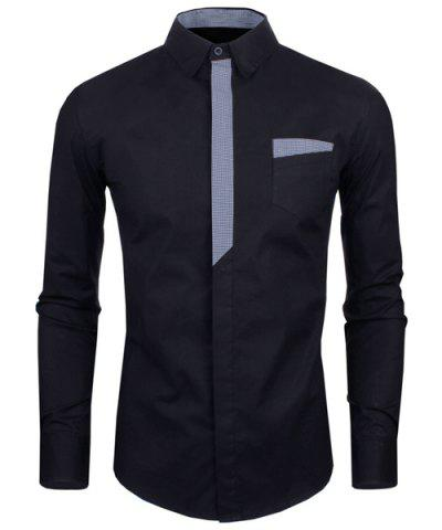 Hot Personality Color Block Fly Slimming Turn-down Collar Long Sleeves Men's Shirt - 2XL BLACK Mobile