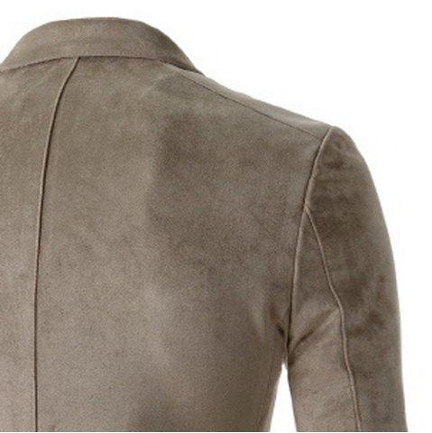 Chic Trendy Slimming Personality Pocket Embellished Houndstooth Lapel Long Sleeves Men's Blazer - M BEIGE Mobile