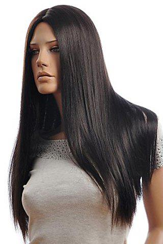 Latest Trendy Centre Parting Charming Long Straight Natural Black Synthetic Capless Wig For Women - BLACK  Mobile