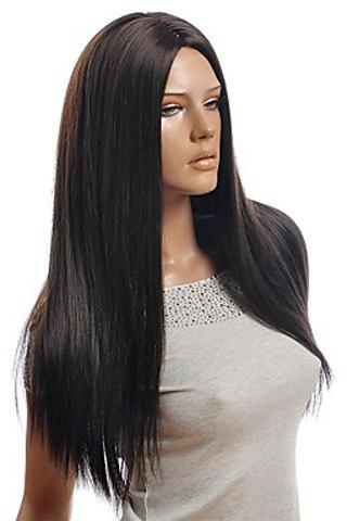 Chic Trendy Centre Parting Charming Long Straight Natural Black Synthetic Capless Wig For Women BLACK