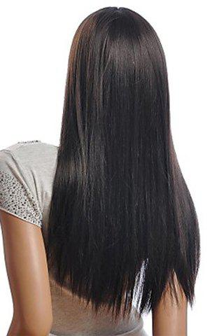Trendy Trendy Centre Parting Charming Long Straight Natural Black Synthetic Capless Wig For Women - BLACK  Mobile