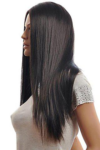 New Trendy Centre Parting Charming Long Straight Natural Black Synthetic Capless Wig For Women - BLACK  Mobile