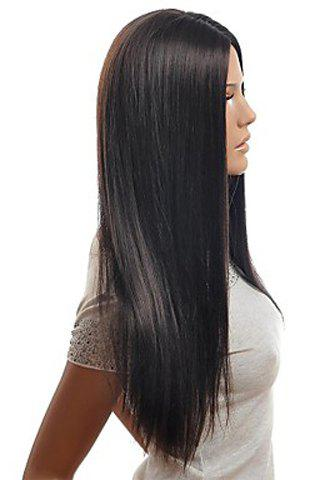 Affordable Trendy Centre Parting Charming Long Straight Natural Black Synthetic Capless Wig For Women - BLACK  Mobile