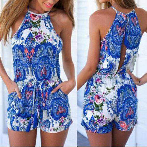 Stylish Round Collar Sleeveless Printed Hollow Out Women's Romper