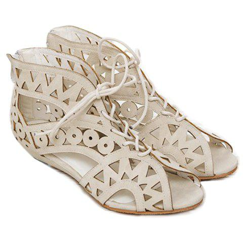 Buy Flat Lace Up Cut Out Sandals