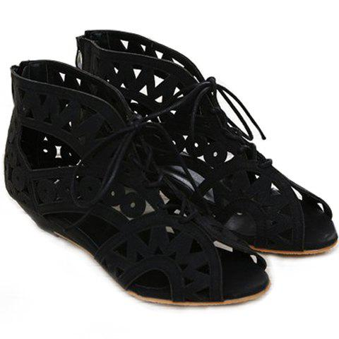 Affordable Flat Lace Up Cut Out Sandals