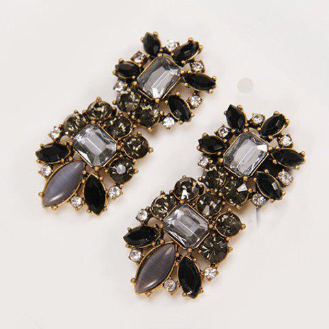 Unique Pair of Chic Retro Style Faux Gem Decorated Square Shape Earrings For Women