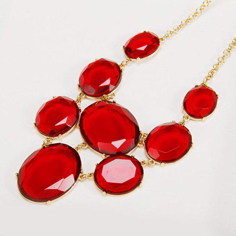 Chic Faux Gem Geometric Pendant Necklace