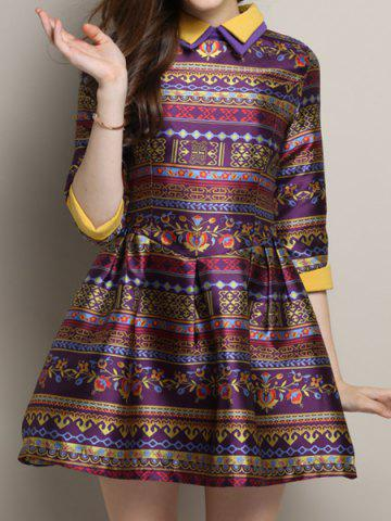 Unique Vintage Flat Collar 3/4 Sleeve Color Block Printed Women's Dress