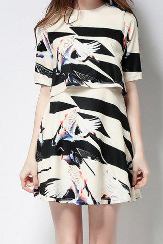 Latest Round Neck Half Sleeve Printed Overlay Dress