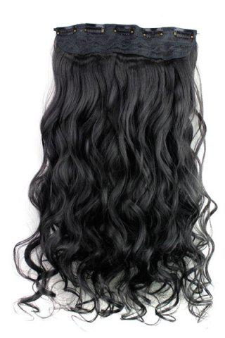 Outfits Fashion Jet Black Long Curly Clip-In Heat Resistant Synthetic Hair Extension For Women -   Mobile