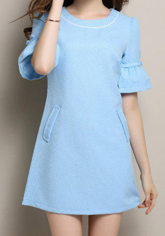 New Vintage Scoop Neck Half Flare Sleeve Bowknot Embellished Women's Dress BLUE S