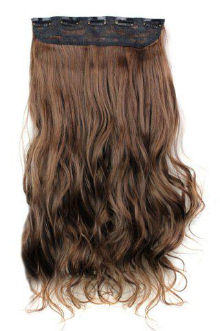 Unique Fashion Light Brown Long Curly Clip-In Heat Resistant Synthetic Hair Extension For Women - LIGHT BROWN  Mobile