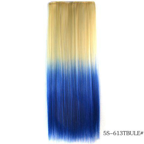 Best Fashion Soft Long Straight Rice White Gradient Sapphire Clip In Women's Hair Extension -   Mobile