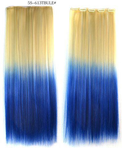 Unique Fashion Soft Long Straight Rice White Gradient Sapphire Clip In Women's Hair Extension