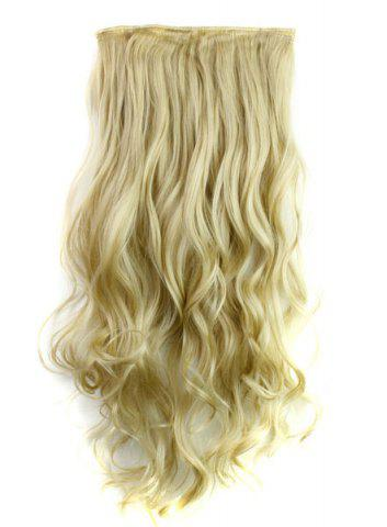 Best Fashion Light Blonde Long Curly Clip-In Heat Resistant Synthetic Hair Extension For Women LIGHT GOLD