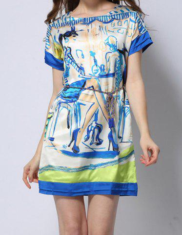 Fancy Vintage Scoop Neck Short Sleeve Printed Women's Dress
