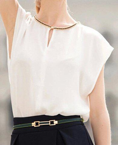 Outfit Elegant Round Neck Rhinestone Embellished Short Sleeve Blouse For Women