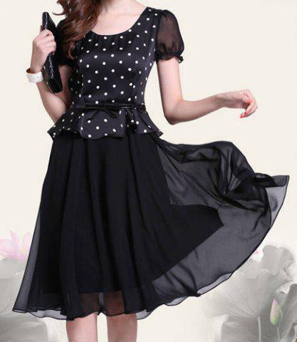 Affordable Retro Style Scoop Neck Polka Dot Print Color Block Short Sleeve Women's Dress