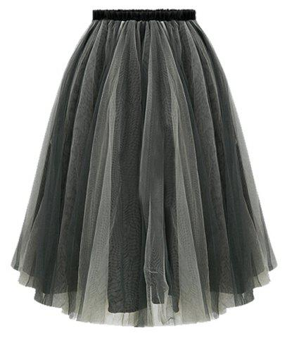 Affordable Stylish Elastic Waist Organza Ball Gown Skirt For Women