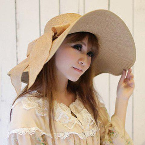 Fashion Bowknot Lace-Up Broad Brimmed Beach Straw Hat - RANDOM COLOR  Mobile