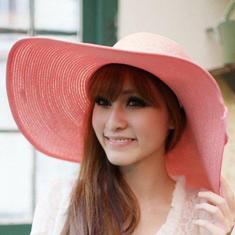 Shops Bowknot Lace-Up Broad Brimmed Beach Straw Hat - RANDOM COLOR  Mobile
