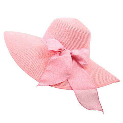 Store Bowknot Lace-Up Broad Brimmed Beach Straw Hat - RANDOM COLOR  Mobile