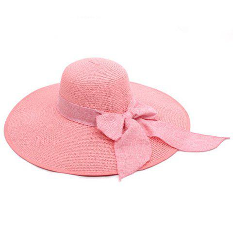 Chic Bowknot Lace-Up Broad Brimmed Beach Straw Hat - RANDOM COLOR  Mobile