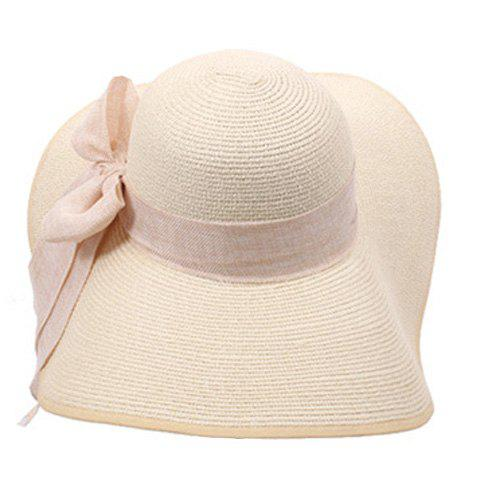 Cheap Bowknot Lace-Up Broad Brimmed Beach Straw Hat - RANDOM COLOR  Mobile
