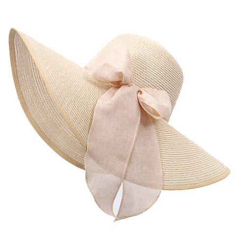 Sale Bowknot Lace-Up Broad Brimmed Beach Straw Hat - RANDOM COLOR  Mobile