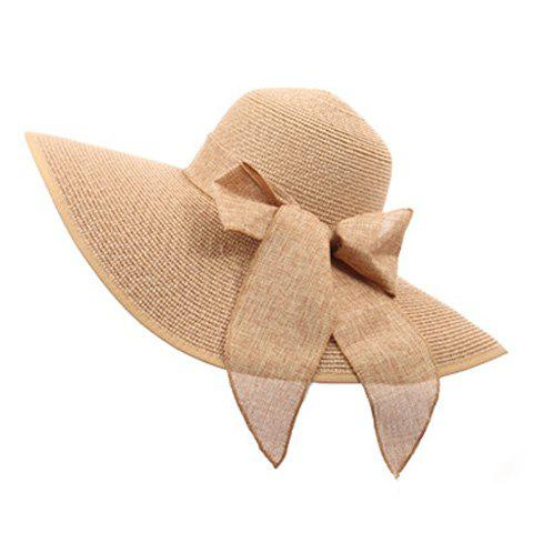 Hot Bowknot Lace-Up Broad Brimmed Beach Straw Hat - RANDOM COLOR  Mobile