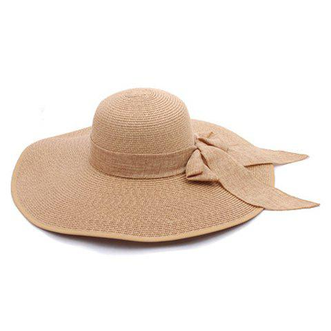 Shop Bowknot Lace-Up Broad Brimmed Beach Straw Hat - RANDOM COLOR  Mobile