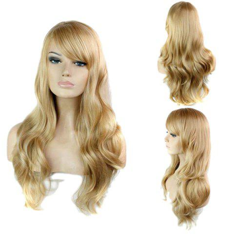 Latest Trendy Side Bang Noble Long Big Wavy Blonde Brown Mixed Synthetic Capless Wig For Women
